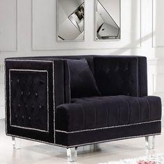 Meridian Furniture Lucas Black Contemporary style tufted black velvet fabric chair Modern tufted chair in black Tufted Chair, Chair Upholstery, Chair Fabric, Upholstered Chairs, Armchair, Wall Fabric, Loveseat Sofa, Sofa Chair, Fabric Panels