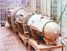 https://flic.kr/p/8RZfno | N1-L3 Moon Rocket Assembly | The N1 at the Mounting Bogie in the Site # 112 Assembly & Test Facility at Baikonur.