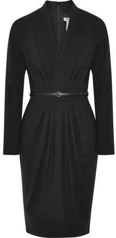 Max Mara - Belted Wool-blend Dress - Black