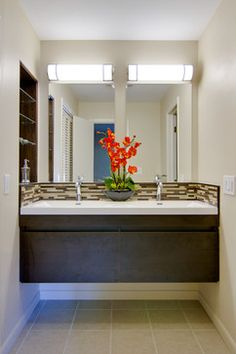 Dual mirror over wall hung vanity - Retro Modern Master Bathroom - modern - bathroom - dc metro - MODERN RENOVATIONS