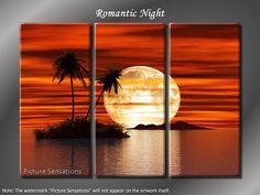Framed Huge 3 Panel Modern Art Ocean Romantic Night Giclee Canvas Print – Ready to Hang - Kunst Tätowierung Framed Canvas Prints, Wall Canvas, Canvas Art, Canvas Frame, Beach Sunset Painting, Multi Canvas Painting, Afrique Art, Romantic Night, Picture Wall