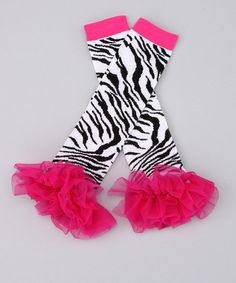 Take a look at this Pink Zebra Leg Warmers  by Sparkle Couture on #zulily today!