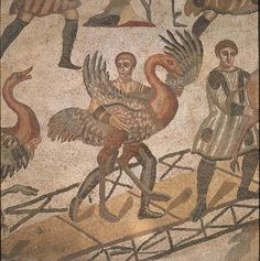 Loading an ostrich for shipment to Roman circus, 3rd to 4th century mosaic in imperial villa, Piazza Armerina, Sicily