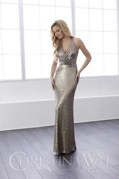 Christina Wu Celebrations Bridesmaid Dress - A startling, all-over sequin dress with a full-length, sheath silhouette and attractive v-neck halter neckline. The straps loosely flow down the back to form a slim keyhole back. Pictured in: Bronze. Bridesmaid Dresses London, Homecoming Dresses, Sequin Bridesmaid, Metallic Dress, Sequin Dress, Bridal Gallery, Wedding Gallery, Affordable Wedding Dresses, Celebrity Dresses