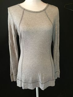 CAbi Style 581 Gray Light Gray Striped Tissue Tee Top Shirt Women's Size M    #CAbi #KnitTop #Casual