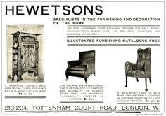 Original - Anzeige/Advertise 1903 : (ENGLISH) HEWETSONS FURNISHING AND DECORATION / LONDON - 260 x 170 mm