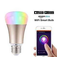 Xboun Smart LED Light bulb Wifi Work with Amazon alexa Smartphone Free APP Control Dimmable Multicolored Color Changing Party Lights Bulb for Home Festival Lights * You can find out more details at the link of the image-affiliate link. #ALEXASmart Home