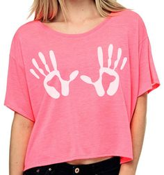 Oversized crop top with handprints #festival shirt neonpink or neonyellow #handmade #fashion #Etsy
