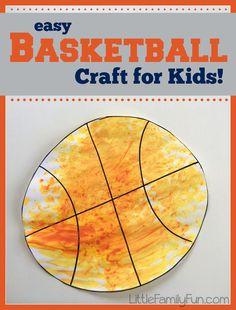 Little Family Fun: Basketball Craft for Kids - good for little ones (poss. dot painting?)