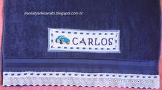 Toalha Menino Social Security, Personalized Items, Cards, Cross Stitch Embroidery, Towels, Little Girls, Craft, Map