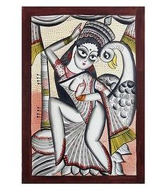 Goddess Saraswati (Kalighat Painting - Water Color on Paper - Unframed) Kerala Mural Painting, Indian Art Paintings, Madhubani Painting, Saraswati Photo, Saraswati Goddess, Saraswati Mata, Indian Goddess, Indian Folk Art, India Art