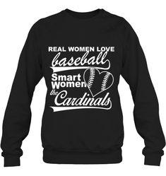 Real women love baseball smart women the cardinals Smart Women, Baseball Tees, Real Women, Cardinals, Hoodies, Sweatshirts, Just Love, Pullover, Sleeves