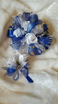 Black white and royal blue prom corsage set from Hen House Designs www.henhousedesigns.net