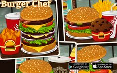 """Google Play: https://play.google.com/store/apps/details?id=com.codnes.bcn  App Store: https://itunes.apple.com/us/app/burger-chef-hd/id813866568?ls=1&mt=8  Burger Chef  You are owner of a small and wonderful fast food cafe. Every day in the cafe """"Burger Chef """"visitors come to taste the most delicious and juicy burgers specialties in the city.  Your task as quickly as possible to cook burgers, fries, salads, desserts, and visitors are going to order menu."""