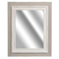 Prostokątne lustro o szaro białej ramie.  Więcej na : www.lawendowykredens.pl