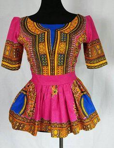 Dashiki women peplum  blouse African print tribal top African clothing Angelina pink Top size us 0 to 18