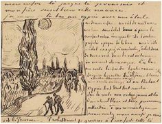 Vincent van Gogh Road with Men Walking, Carriage, Cypress, Star, and Crescent Moon Letter Sketches