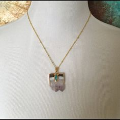 "Gold plated amethyst slab necklace Gold plated amethyst slab necklace with turquoise. 19.5"" chain with 1.75"" extender. Pendant 1.25"". 3 necklaces available and listed separately as they are different sizes. Jewelry Necklaces"