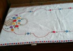 Vintage Embroidered Table Runner, Linen Table Scarf, by EmptyNestVintage on Etsy