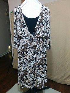 5df03d3f716d1 Apt 9 Plus Size 1X Stretch Jersey Knit Dress Empire Waist Mock Tie Jacket