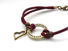 Happiness cord bracelet heart charm faux by BlueForestJewellery, $10.00