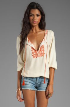 Soft Joie Calathia Embroidered Top in Vanilla/Pureed Pumpkin from REVOLVEclothing