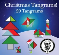Christmas / Winter / Holiday Tangram Set - 29 Different Tangrams! Santa, Christmas, elves, north pole, presents this makes a great classroom math tool. Very cute and great for all ages. Christmas Math, Christmas Activities For Kids, Christmas Tree Toy, Math For Kids, Fun Math, Mind Puzzles, Tangram Puzzles, Grey Colors, Holiday Themes