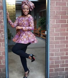 African Print Peplum Top with Sleeves - Ankara - African Dress - Handmade - African Clothing - African Fashion - Ankara Dress -Plus HeadWrap African Models, African Fashion Ankara, Ghanaian Fashion, African Print Fashion, African Print Peplum Top, African Print Dresses, African Dress, African Prints, African Tops