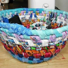 Basket coiling with fabric