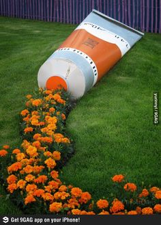 Paint flowers. Haha. This would be awesome on my front lawn. Everyone would know where the art teacher lives!