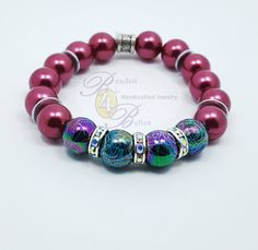 Check out this item in my Etsy shop https://www.etsy.com/listing/500903310/rainbow-maroon-silver-beaded-bracelet
