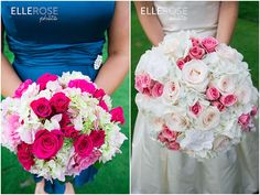 pink wedding flowers | pink + peacock wedding colors