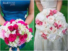 pink wedding flowers | pink + peacock wedding colors