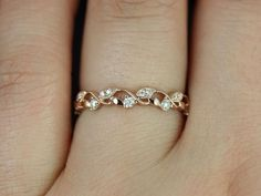 Wedding Rings Daphine Rose Gold Thin Weaving Leaves Diamonds Berries Halfway Eternity Band (Available in other metals) - Lovely gold engagement / wedding ring. Leaves or vine inspiration Cute Rings, Pretty Rings, Beautiful Rings, Simple Rings, Delicate Rings, Gold Wedding Rings, Wedding Jewelry, Wedding Bands, Wedding Rings Simple