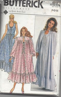 MOMSPatterns Vintage Sewing Patterns - Butterick 4312 Vintage 80's Sewing Pattern ROMANTIC Eileen West for Queen Anne's Lace Victorian Style Modest Scoop Neck Long Nightgown, Ruffled Gunne Sax Sundress, Maxi Gown Dress, Robe, Bathrobe, Jacket or Coat Size P-M