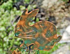 Bunny Rabbit Garden Plant Stake / Metal Garden Art / Copper Art / Yard Art / Farm Animal / Pet Memorial / Barnyard / Rabbit Statue Spike