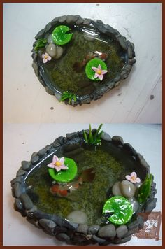 Koi Pond 2 Polymer Clay and resin by Zil-Foxxxil on DeviantArt