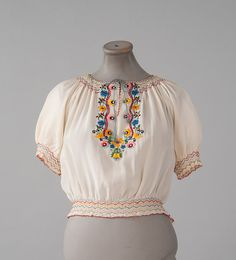 Vintage 1920s Hand Embroidered Peasant Blouse, Hungarian 20s 30s Boho Blouse, White Silk Ethnic Blouse, Short Sleeves, Womens Bouses, Tops Beautiful