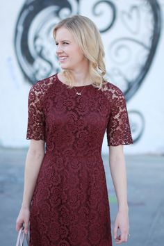 63e6653660f Wine colored lace dress from Madewell