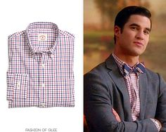 Blaine Anderson wears a @BrooksBrothers shirt in 'Homecoming' on #Glee:    Brooks Brothers Cotton Broadcloth Check Sport Shirt  Worn with: Allen Edmonds shoes