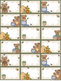 Free printable Honey Bear labels (& many more styles!) from Graphic Garden link→ http://www.graphicgarden.com/files17/eng/print/reccard1.php