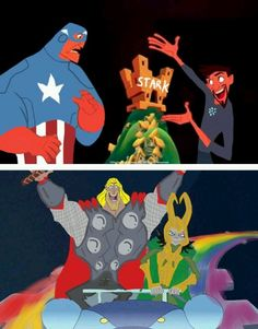 Lol, the Avengers as the Emperor's New Groove characters!