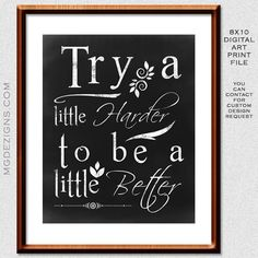 Printable Chalkboard Typography Inspirational quote