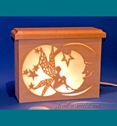 Scroll Saw Patterns :: Lighted projects :: Night lights & lamps :: Fairy on moon night light -