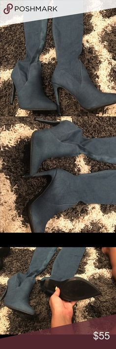 Denim high boots Knee high denim boots new never worn from Lola shoetique lola shoetique Shoes Over the Knee Boots