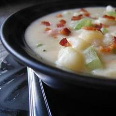 "Absolutely Ultimate Potato Soup I ""This was by far one of the best Potato Soup recipes I've ever prepared! It is a bit involved and time consuming, but it was sooo worth it! Ultimate Potato Soup Recipe, Best Potato Soup, Soup Recipes, Cooking Recipes, Celery Recipes, Cooking Bacon, Cooking Ideas, Beef Recipes, Recipies"