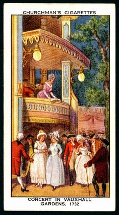"""Cigarette Card - Vauxhall Gardens London Churchman's Cigarettes """"The Story of London"""" (series of 50 issued in 1934) #32 Concert in Vauxhall Gardens, 1732"""
