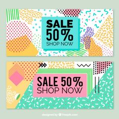 Cheerful sale banners in memphis style Free Vector
