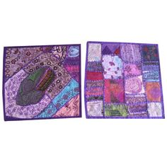 Mogul Indian Vintage Pillow Case Patchwork Purple Embroidered Cotton Decorative Toss Coushion Cover 16x16    https://www.walmart.com/search/?query=mogul%20interior%20CUSHION%20COVER&cat_id=0