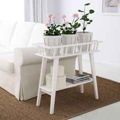 A plant stand makes it possible to decorate with plants everywhere in the home. Arrange several plants in a row. Ikea, White Plants, Living Room Tv, Homemaking, Cleaning Wipes, The Row, Shelves, Chair, Furniture